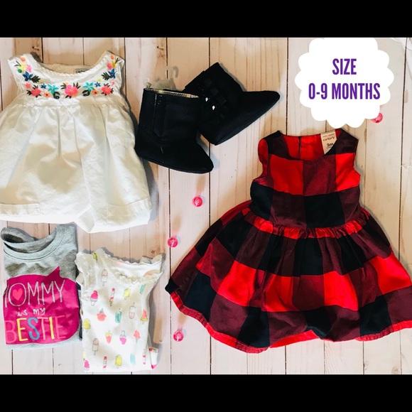 Carter's Super Cute Buffalo Dress Bundle/0-9m
